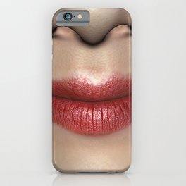 Smiling Lipstick Red Female Lips Close up iPhone Case
