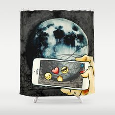 Snapchat the moon Shower Curtain
