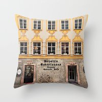 mozart Throw Pillows featuring Mozart Residence  by Laura Ruth