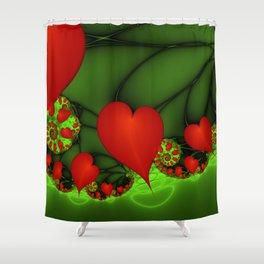 Dancing Red Hearts Fractal Art Shower Curtain