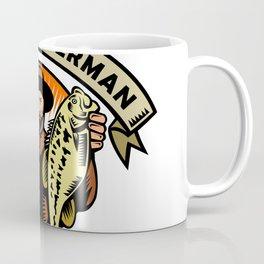 Fly Fisherman Holding Largemouth Bass Woodcut Coffee Mug