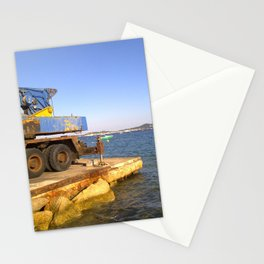 Old crane opposite of St.Topez Stationery Cards