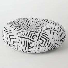 Line Mud Cloth // Light Grey Floor Pillow