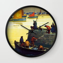Ile Tudy-Finistere, French Travel Poster Wall Clock