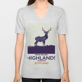 Scottish Highlands, Glencoe travel poster Unisex V-Neck