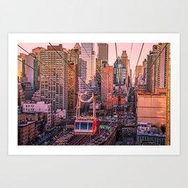 New York City - Skyscrapers and Tram Art Print