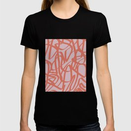 Abstract line art in red T-shirt