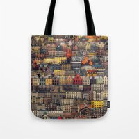 copenhagen Tote Bags featuring Copenhagen Facades by Siddharth Dasari