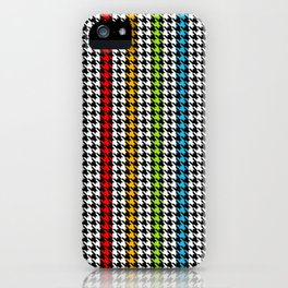 Houndstooth pattern and colorful stripes iPhone Case
