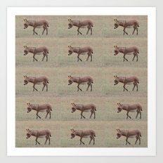 Baby Donkey Multiplied Art Print