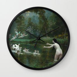 LEDA AND THE SWAN - JEAN-LEON GEROME Wall Clock