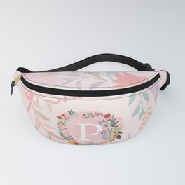 Flower Wreath with Personalized Monogram Initial Letter P on Pink Watercolor Paper Texture Artwork Fanny Pack