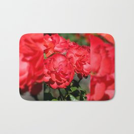 Flowerheads of red roses Bath Mat
