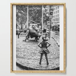 Fearless Girl Statue Wall Street Street Serving Tray