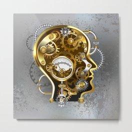 Steampunk Head with Manometer Metal Print