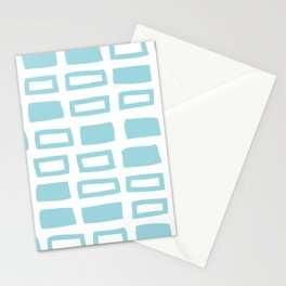 Mid Century Modern Abstract Squares Pattern 442 Light Blue Stationery Cards