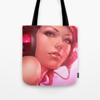 freedom Tote Bags featuring Pepper Freedom by Artgerm™