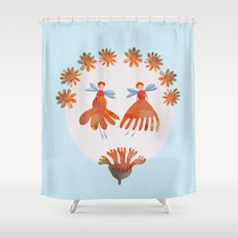 Summer Flower Fairies Watercolor Painting, Mischievous Floral Sprites in Orange & Pink Shower Curtain