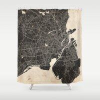 copenhagen Shower Curtains featuring copenhagen map ink lines by NJ-Illustrations