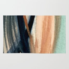 Waves - a pretty minimal watercolor abstract in blues, pinks, and browns Rug