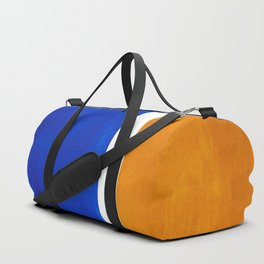 Phthalo Blue Yellow Ochre Mid Century Modern Abstract Minimalist Rothko Color Field Squares Duffle Bag