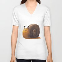 snail V-neck T-shirts featuring Snail by Isableh