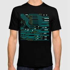 Dark Circuit Board Mens Fitted Tee Black LARGE