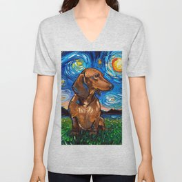 Brown Short Hair Dachshund Night Unisex V-Neck