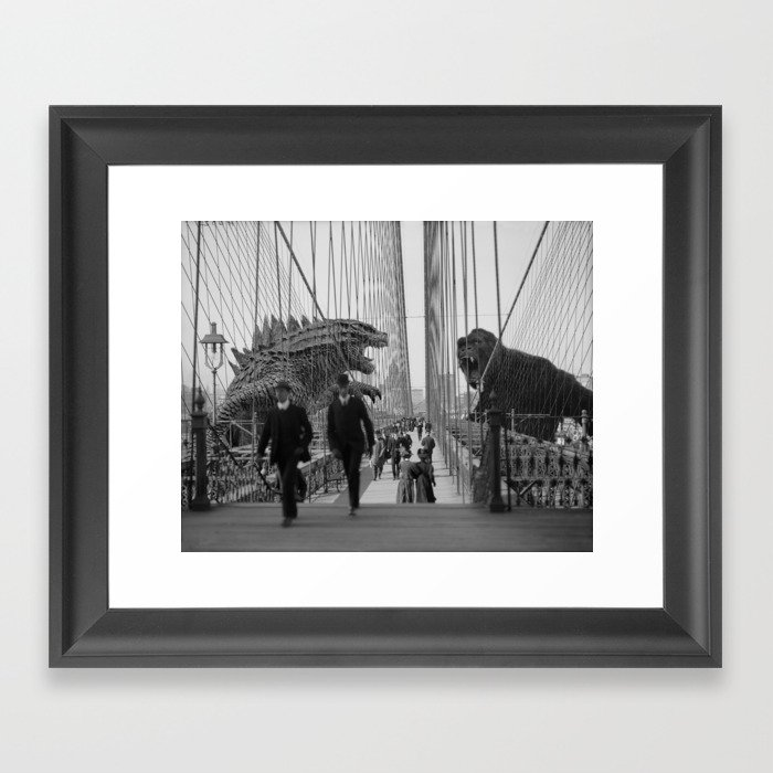 Old Time Godzilla vs. King Kong Framed Art Print