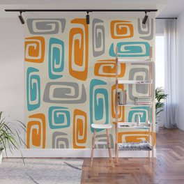Mid Century Modern Cosmic Abstract 740 Orange Blue and Gray Wall Mural