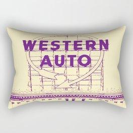 Western Auto Neon Sign In Downtown Kansas City Rectangular Pillow