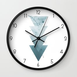 Blue Triangles. Wall Clock