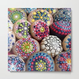 Dot Art Painted Stones Collection #1 Metal Print