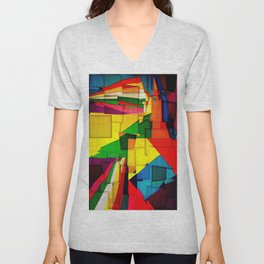 Abstract collage of backgrounds of corrugated colored cardboard Unisex V-Neck