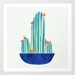 Spring Cactus Blossoms with Indigo Terra Cotta Art Print