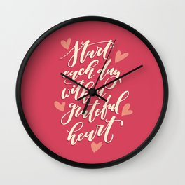 Star Each Day With a Grateful Heart Wall Clock