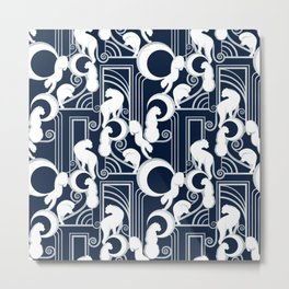Deco Gatsby Panthers // navy and silver Metal Print