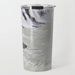 View of the Different Tiers of Gullfoss Waterfall in Iceland Travel Mug