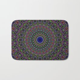 Colorful Sacred Kaleidoscope Mandala Bath Mat
