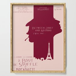 Breathless (À bout de souffle) minimal movie poster, Jean-Luc Godard, classic french film, new wave Serving Tray