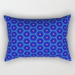 Pink Stars on Blue Rectangular Pillow