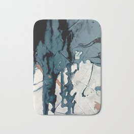 Fortune[4]: A bold, minimal, abstract mixed-media piece in blue and black Bath Mat