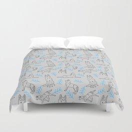 Siberian Husky Pattern (Light Gray) Duvet Cover
