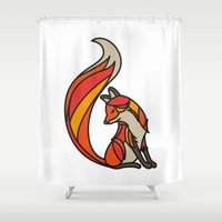 mr fox Shower Curtains featuring Mr. Fox by Cohen McDonald