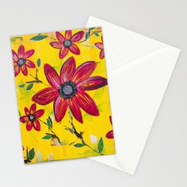 Abstract Yellow with Red Flowers Stationery Cards