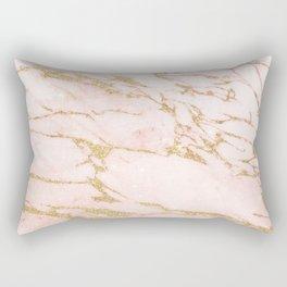 Blush pink abstract gold glitter marble Rectangular Pillow