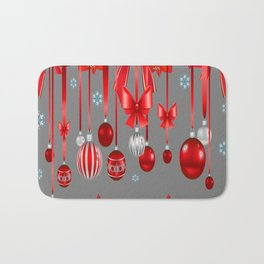 RED CHRISTMAS ORNAMENTS & SNOW FLAKES  ART Bath Mat