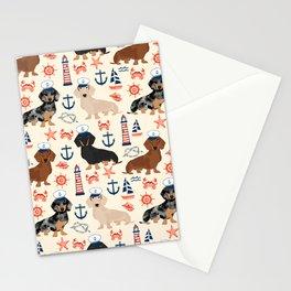Dachshund nautical sailor dog pet portraits dog costumes dog breed pattern custom gifts Stationery Cards