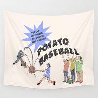baseball Wall Tapestries featuring Potato Baseball by Gas Station Burrito