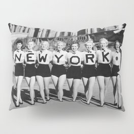 New York girls in the chorus line - vintage mid century photo in B&W Pillow Sham